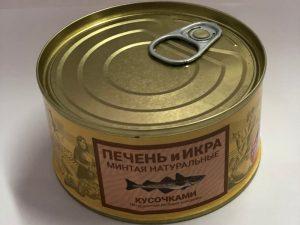 Печень и икра минтая натуральная, ж/б, 185 г