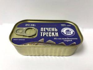 Печень трески натуральная (куски) ж/б 115 г